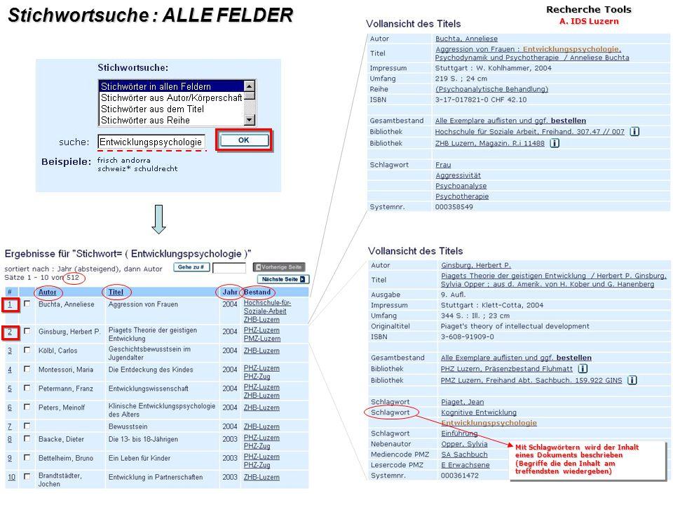 8 Stichwortsuche : ALLE FELDER Recherche Tools A.