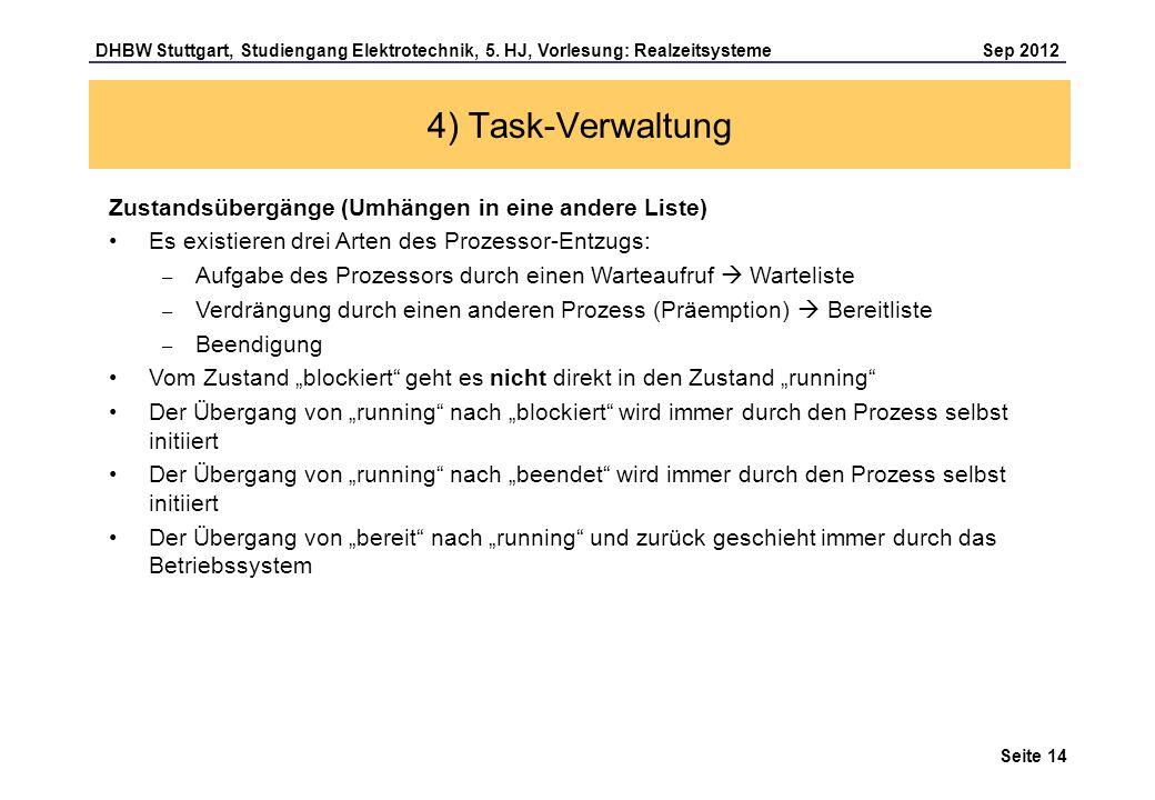 Seite 14 DHBW Stuttgart, Studiengang Elektrotechnik, 5. HJ, Vorlesung: Realzeitsysteme Sep 2012 4) Task-Verwaltung Zustandsübergänge (Umhängen in eine