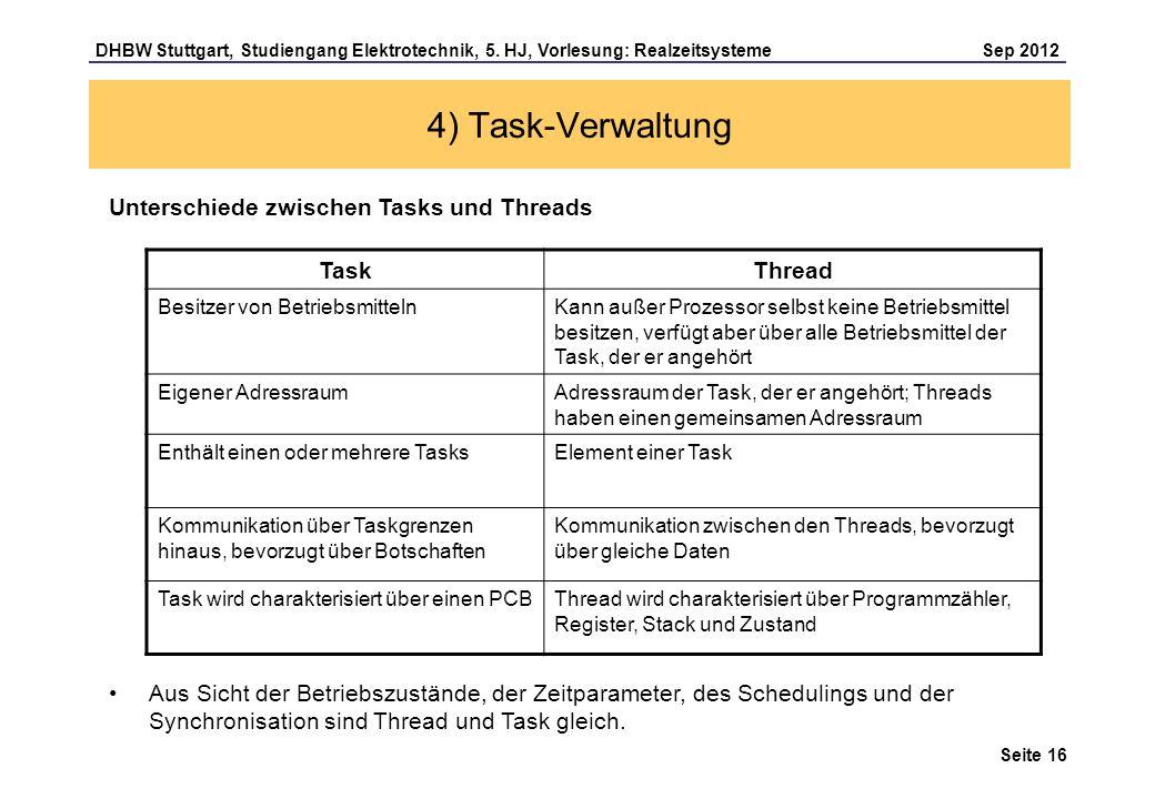 Seite 16 DHBW Stuttgart, Studiengang Elektrotechnik, 5. HJ, Vorlesung: Realzeitsysteme Sep 2012 4) Task-Verwaltung Unterschiede zwischen Tasks und Thr