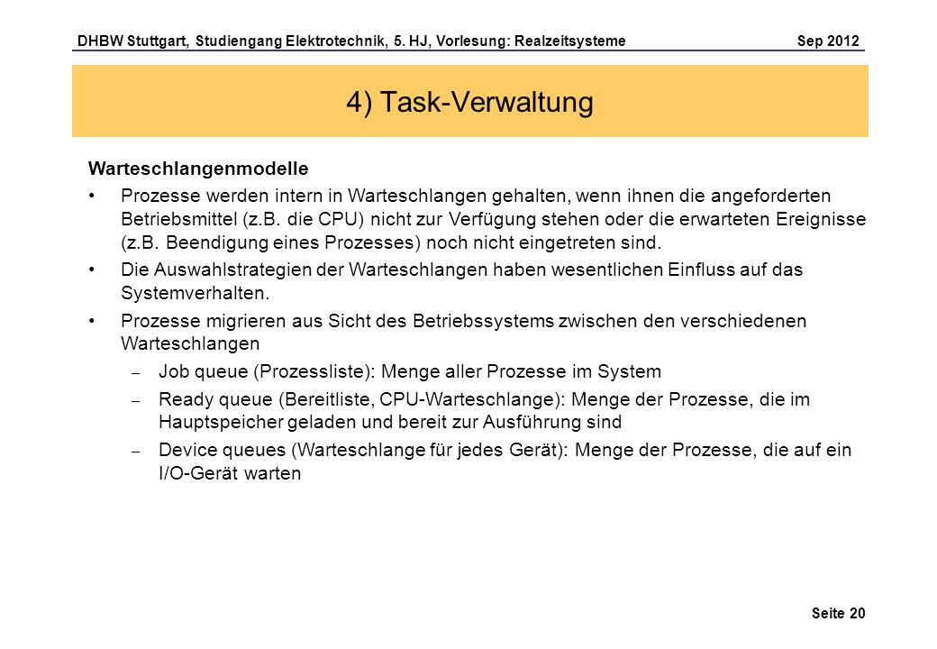 Seite 20 DHBW Stuttgart, Studiengang Elektrotechnik, 5. HJ, Vorlesung: Realzeitsysteme Sep 2012 4) Task-Verwaltung Warteschlangenmodelle Prozesse werd
