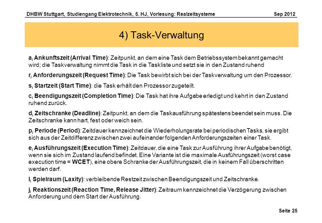 Seite 25 DHBW Stuttgart, Studiengang Elektrotechnik, 5. HJ, Vorlesung: Realzeitsysteme Sep 2012 4) Task-Verwaltung a i Ankunftszeit (Arrival Time): Ze