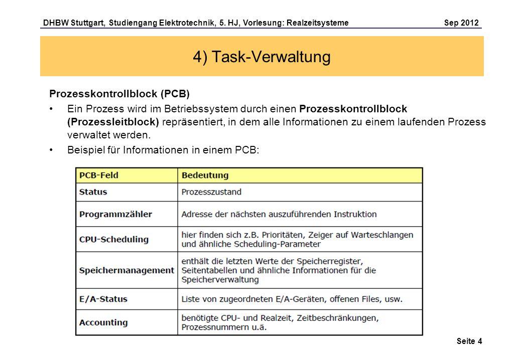 Seite 4 DHBW Stuttgart, Studiengang Elektrotechnik, 5. HJ, Vorlesung: Realzeitsysteme Sep 2012 4) Task-Verwaltung Prozesskontrollblock (PCB) Ein Proze