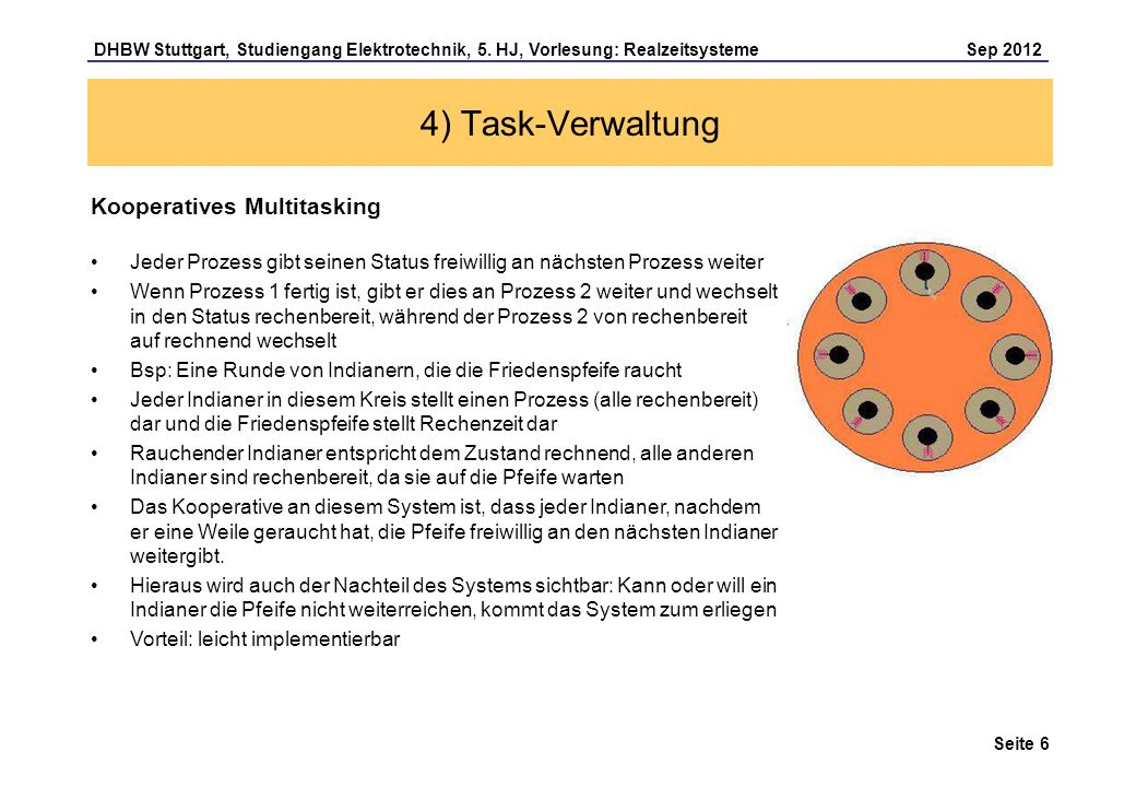 Seite 6 DHBW Stuttgart, Studiengang Elektrotechnik, 5. HJ, Vorlesung: Realzeitsysteme Sep 2012 4) Task-Verwaltung Kooperatives Multitasking Jeder Proz