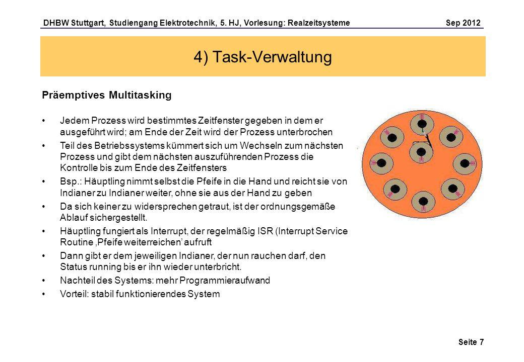 Seite 7 DHBW Stuttgart, Studiengang Elektrotechnik, 5. HJ, Vorlesung: Realzeitsysteme Sep 2012 4) Task-Verwaltung Präemptives Multitasking Jedem Proze