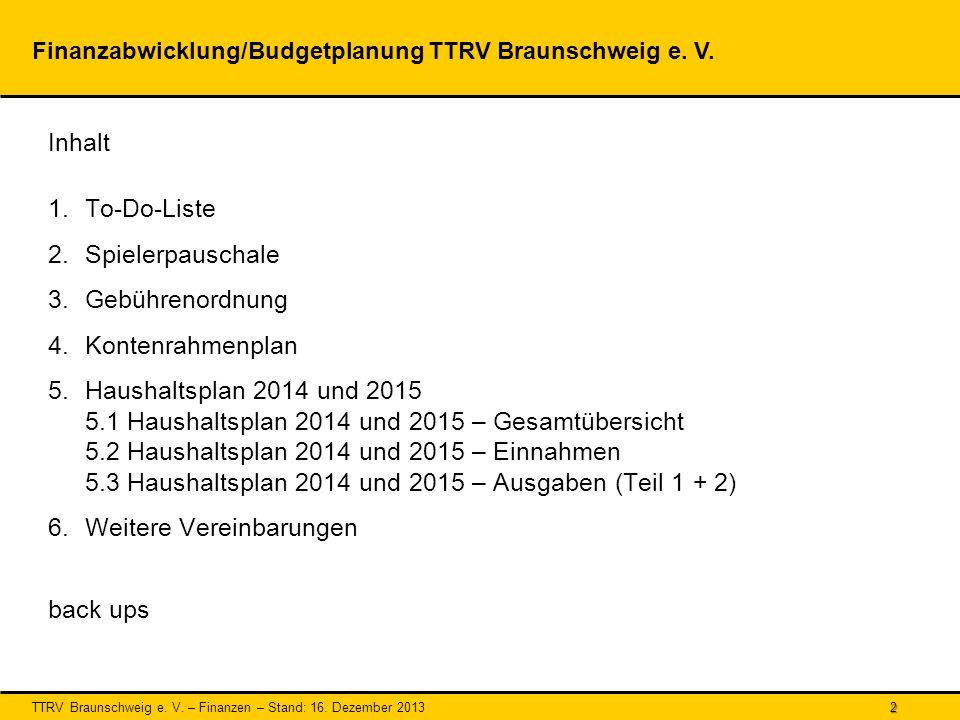 TTRV Braunschweig e.V. – Finanzen – Stand: 16. Dezember 2013 3 1.