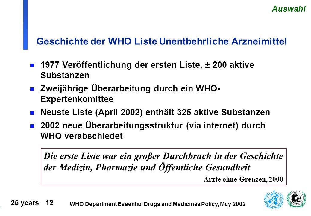 25 years 12 WHO Department Essential Drugs and Medicines Policy, May 2002 Geschichte der WHO Liste Unentbehrliche Arzneimittel n 1977 Veröffentlichung