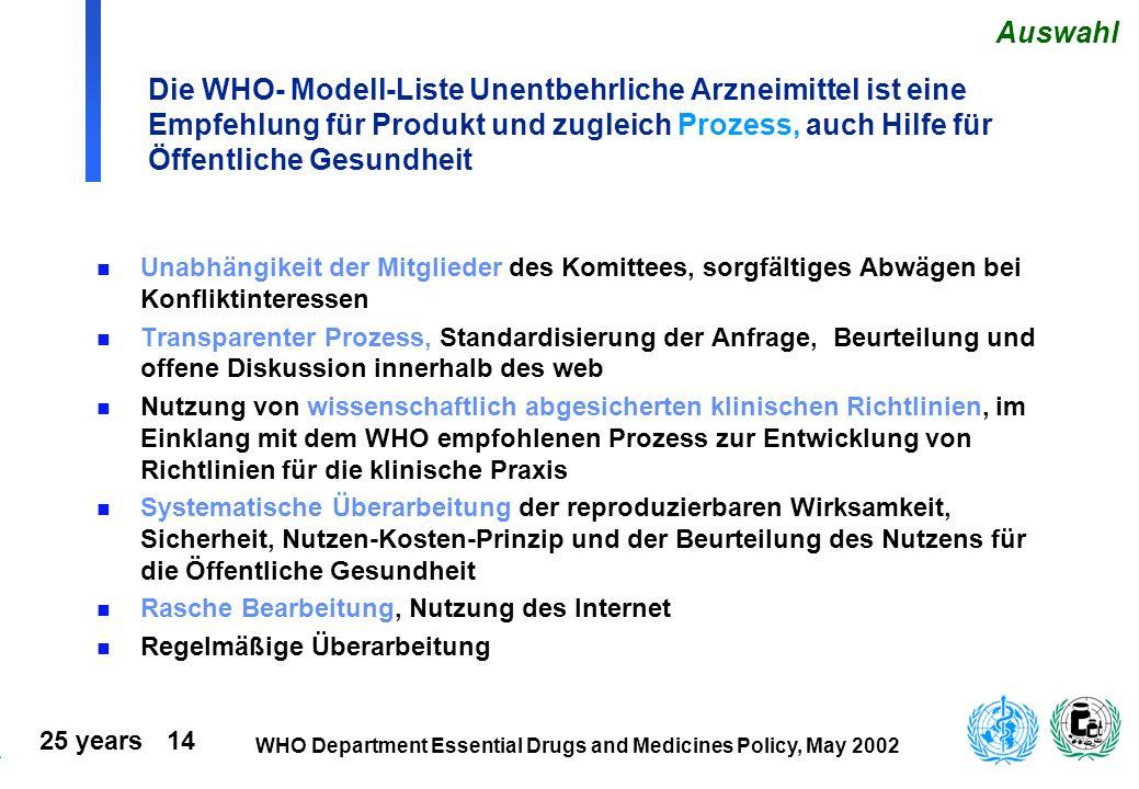 25 years 14 WHO Department Essential Drugs and Medicines Policy, May 2002 Die WHO- Modell-Liste Unentbehrliche Arzneimittel ist eine Empfehlung für Pr