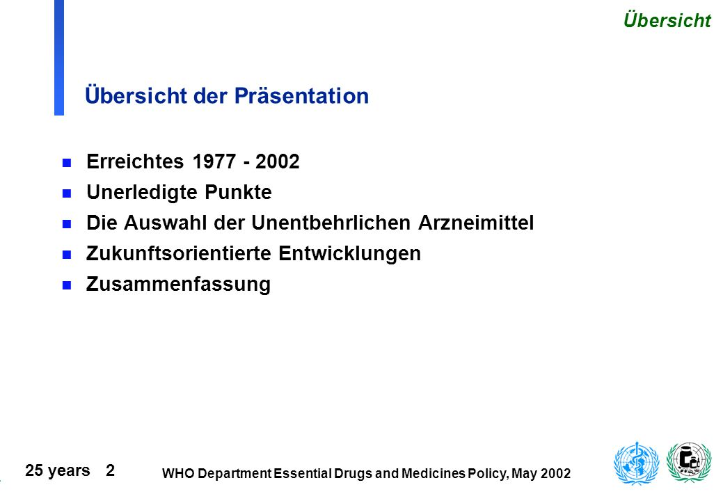 25 years 2 WHO Department Essential Drugs and Medicines Policy, May 2002 Übersicht der Präsentation n Erreichtes 1977 - 2002 n Unerledigte Punkte n Di