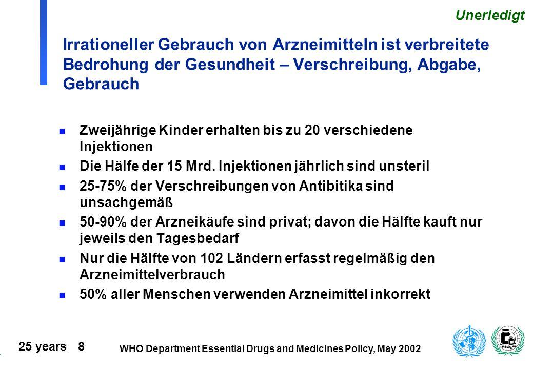 25 years 9 WHO Department Essential Drugs and Medicines Policy, May 2002 Beispiel der Herausforderung: Neue Unentbehrliche Arzneimittel sind teuer Antibiotika gegen Gonorrhoe:50-90x teurer als Penicillin Präparate gegen Malaria: Chloroquine $0.10 per Behandlung Artemether-Lumefantrine $2.50/pB (25x) Atovaquone-Proguanil $40/pB (400x) Präparate gegen TBC: $15 für DOTS vs $300 für MDR (20x) Antiretrovirale Präp.:$300-600/Jahr; aber in 38 Ländern beträgt das Arzneibudget <$2 pro Person/Jahr Auswahl