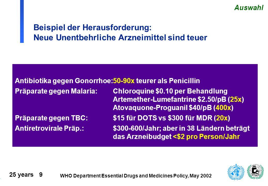 25 years 9 WHO Department Essential Drugs and Medicines Policy, May 2002 Beispiel der Herausforderung: Neue Unentbehrliche Arzneimittel sind teuer Ant