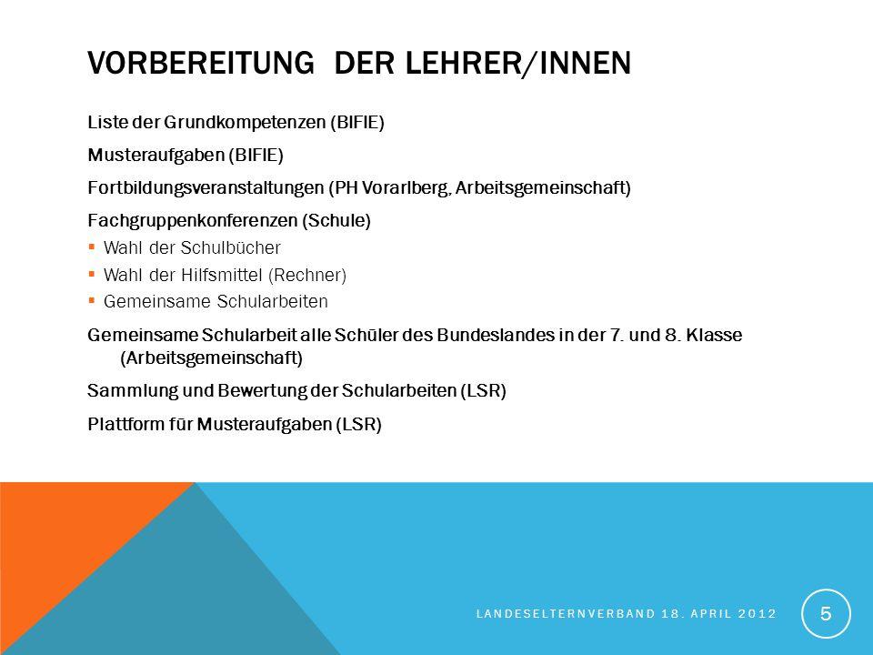 VORBEREITUNG DER LEHRER/INNEN Liste der Grundkompetenzen (BIFIE) Musteraufgaben (BIFIE) Fortbildungsveranstaltungen (PH Vorarlberg, Arbeitsgemeinschaf
