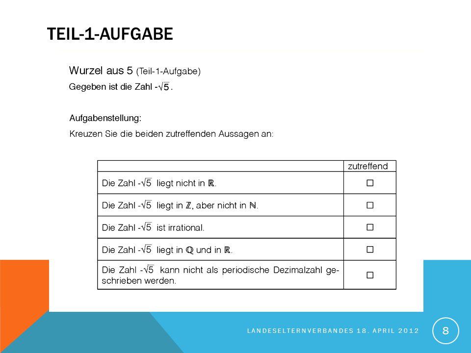 TEIL-2-AUFGABE - EINFÜHRUNG LANDESELTERNVERBANDES 18. APRIL 2012 9