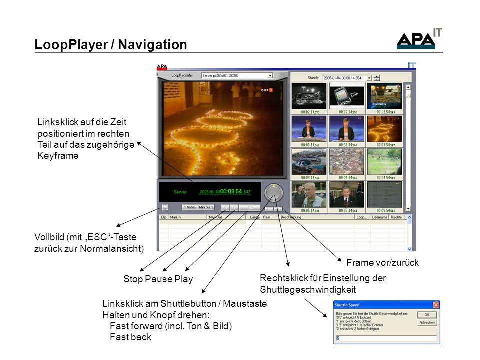 LoopPlayer / Navigation Stop Pause Play Vollbild (mit ESC-Taste zurück zur Normalansicht) Frame vor/zurück Linksklick am Shuttlebutton / Maustaste Hal