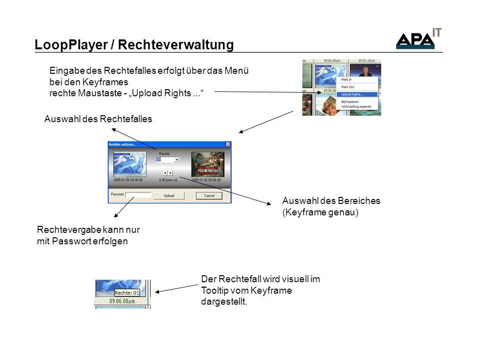 LoopPlayer / Rechteverwaltung Der Rechtefall wird visuell im Tooltip vom Keyframe dargestellt. Auswahl des Rechtefalles Rechtevergabe kann nur mit Pas