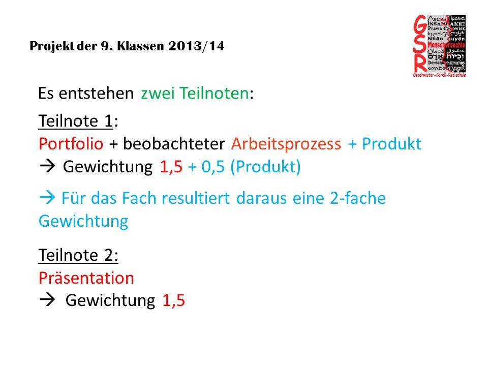 Projekt der 9. Klassen 2013/14 Teilnote 2: Präsentation Gewichtung 1,5 Teilnote 1: Portfolio + beobachteter Arbeitsprozess + Produkt Gewichtung 1,5 +