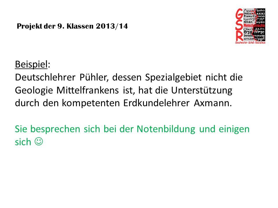 Projekt der 9. Klassen 2013/14 Beispiel: Deutschlehrer Pühler, dessen Spezialgebiet nicht die Geologie Mittelfrankens ist, hat die Unterstützung durch