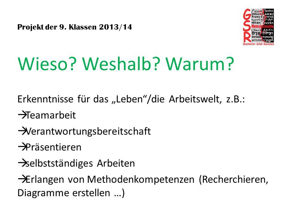 Projekt der 9. Klassen 2013/14 Wieso? Weshalb? Warum? Erkenntnisse für das Leben/die Arbeitswelt, z.B.: Teamarbeit Verantwortungsbereitschaft Präsenti