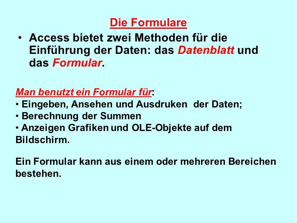 Die Formulare Access bietet zwei Methoden für die Einführung der Daten: das Datenblatt und das Formular. Man benutzt ein Formular für: Eingeben, Anseh