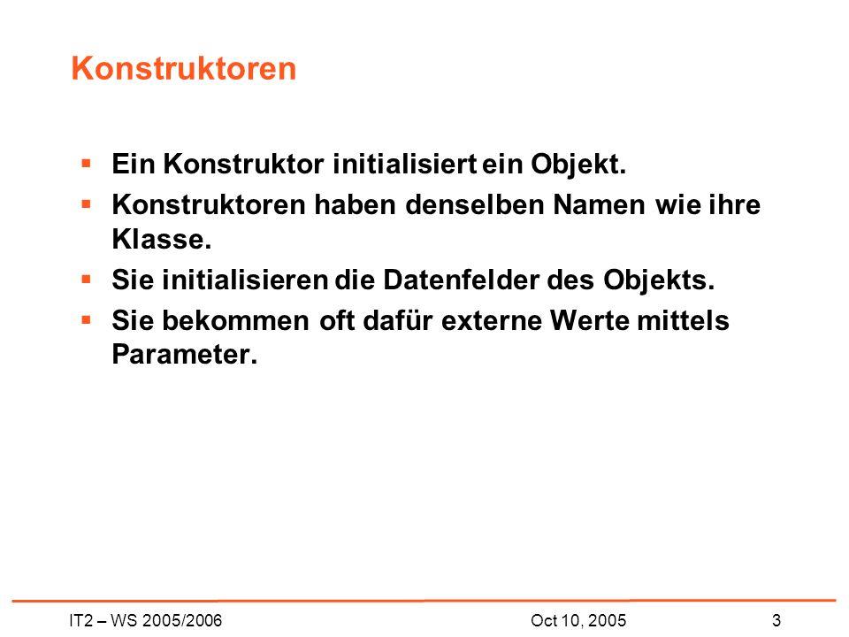 IT2 – WS 2005/20063Oct 10, 2005 Konstruktoren Ein Konstruktor initialisiert ein Objekt.