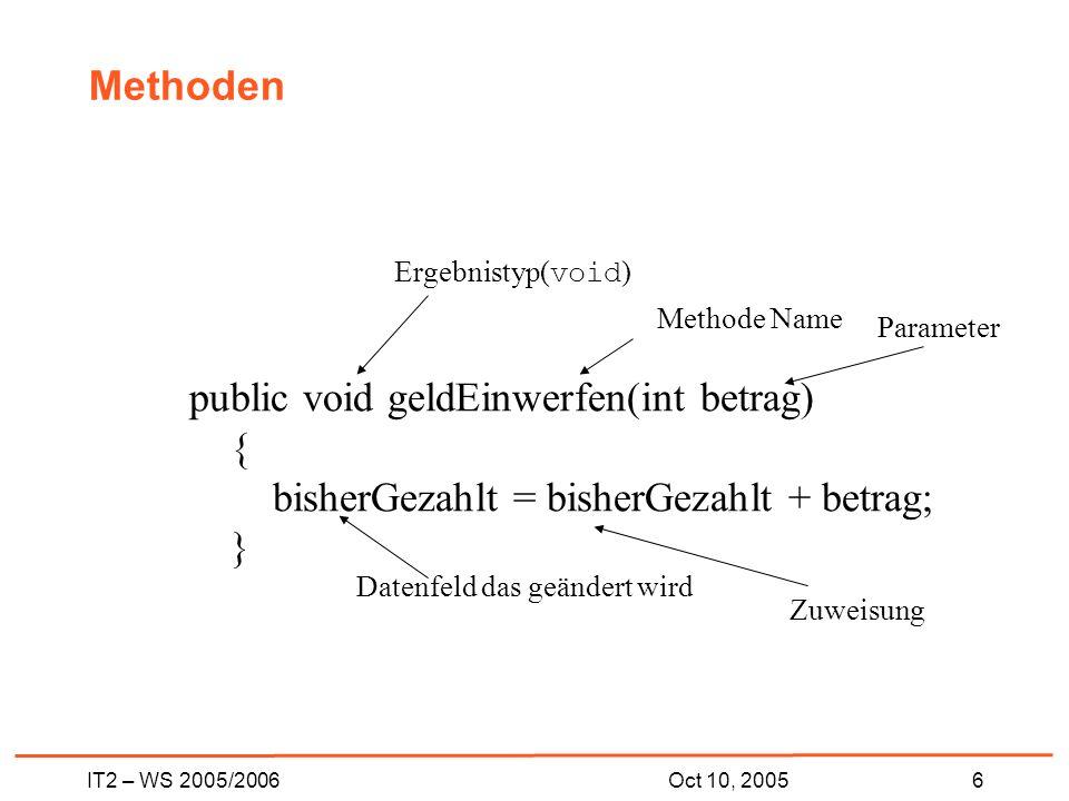 IT2 – WS 2005/20066Oct 10, 2005 Methoden public void geldEinwerfen(int betrag) { bisherGezahlt = bisherGezahlt + betrag; } Ergebnistyp( void ) Methode Name Parameter Zuweisung Datenfeld das geändert wird