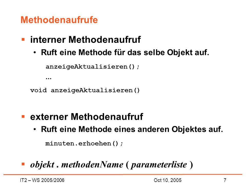 IT2 – WS 2005/20068Oct 10, 2005 Lokale Variablen Attribute sind nur eine Art Variable.