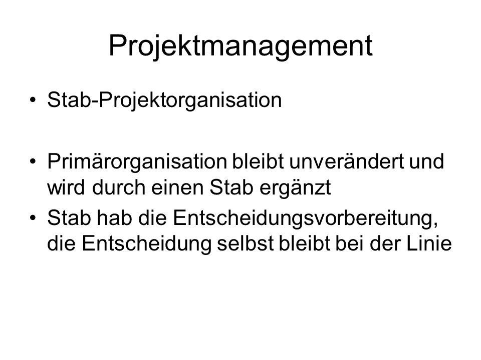 Projektmanagement Stab-Projektorganisation Primärorganisation bleibt unverändert und wird durch einen Stab ergänzt Stab hab die Entscheidungsvorbereit