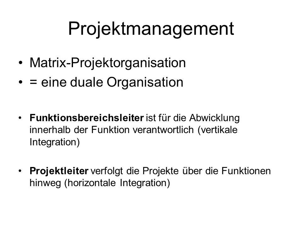 Projektmanagement Matrix-Projektorganisation = eine duale Organisation Funktionsbereichsleiter ist für die Abwicklung innerhalb der Funktion verantwor