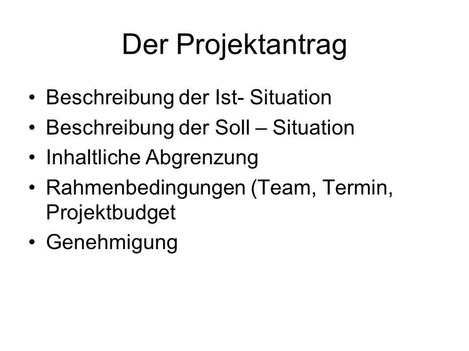 Der Projektantrag Beschreibung der Ist- Situation Beschreibung der Soll – Situation Inhaltliche Abgrenzung Rahmenbedingungen (Team, Termin, Projektbud