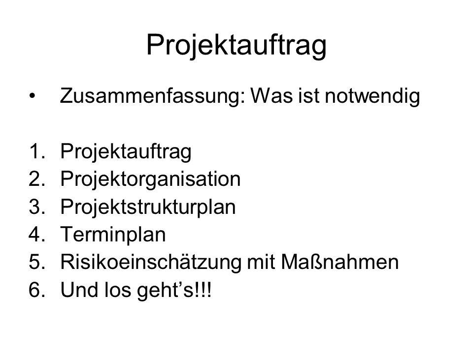Projektauftrag Zusammenfassung: Was ist notwendig 1.Projektauftrag 2.Projektorganisation 3.Projektstrukturplan 4.Terminplan 5.Risikoeinschätzung mit M