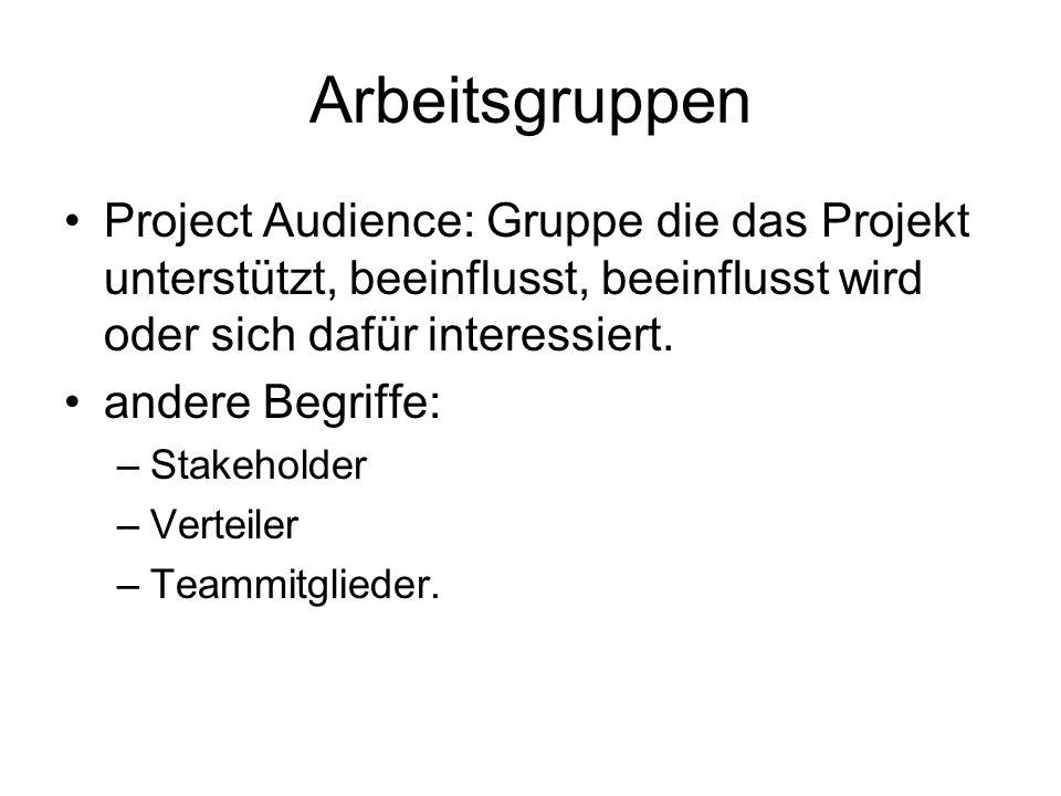 Arbeitsgruppen Project Audience: Gruppe die das Projekt unterstützt, beeinflusst, beeinflusst wird oder sich dafür interessiert. andere Begriffe: –Sta