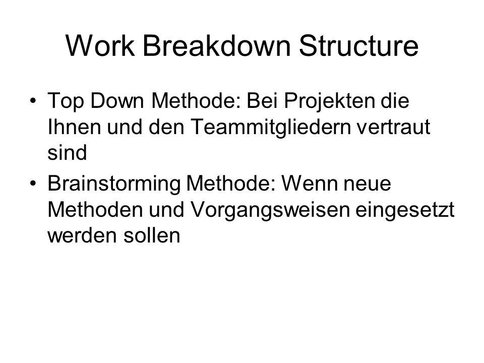 Work Breakdown Structure Top Down Methode: Bei Projekten die Ihnen und den Teammitgliedern vertraut sind Brainstorming Methode: Wenn neue Methoden und