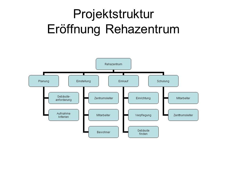 Projektstruktur Eröffnung Rehazentrum Rehazentrum Planung Gebäude- anforderung Aufnahme kriterien Einstellung Zentrumsleiter Mitarbeiter Bewohner Eink