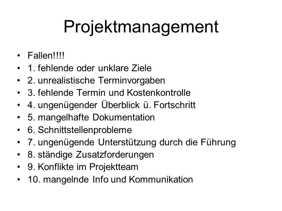 Projektmanagement Fallen!!!! 1. fehlende oder unklare Ziele 2. unrealistische Terminvorgaben 3. fehlende Termin und Kostenkontrolle 4. ungenügender Üb