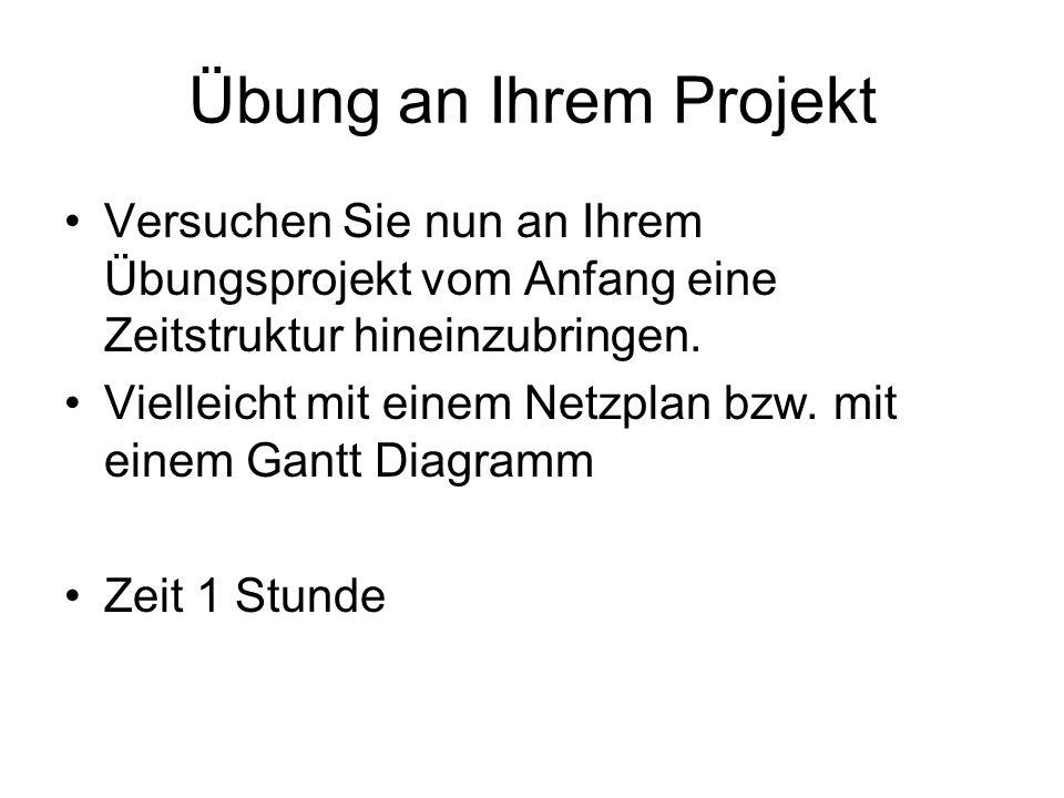 Übung an Ihrem Projekt Versuchen Sie nun an Ihrem Übungsprojekt vom Anfang eine Zeitstruktur hineinzubringen. Vielleicht mit einem Netzplan bzw. mit e