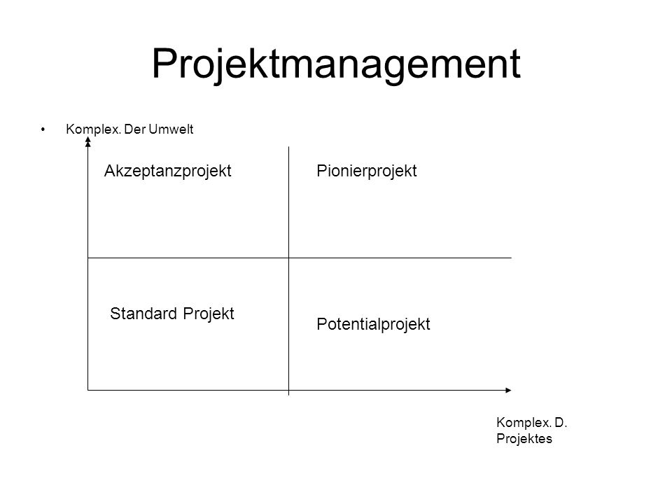 Projektmanagement Komplex. Der Umwelt Komplex. D. Projektes Standard Projekt AkzeptanzprojektPionierprojekt Potentialprojekt