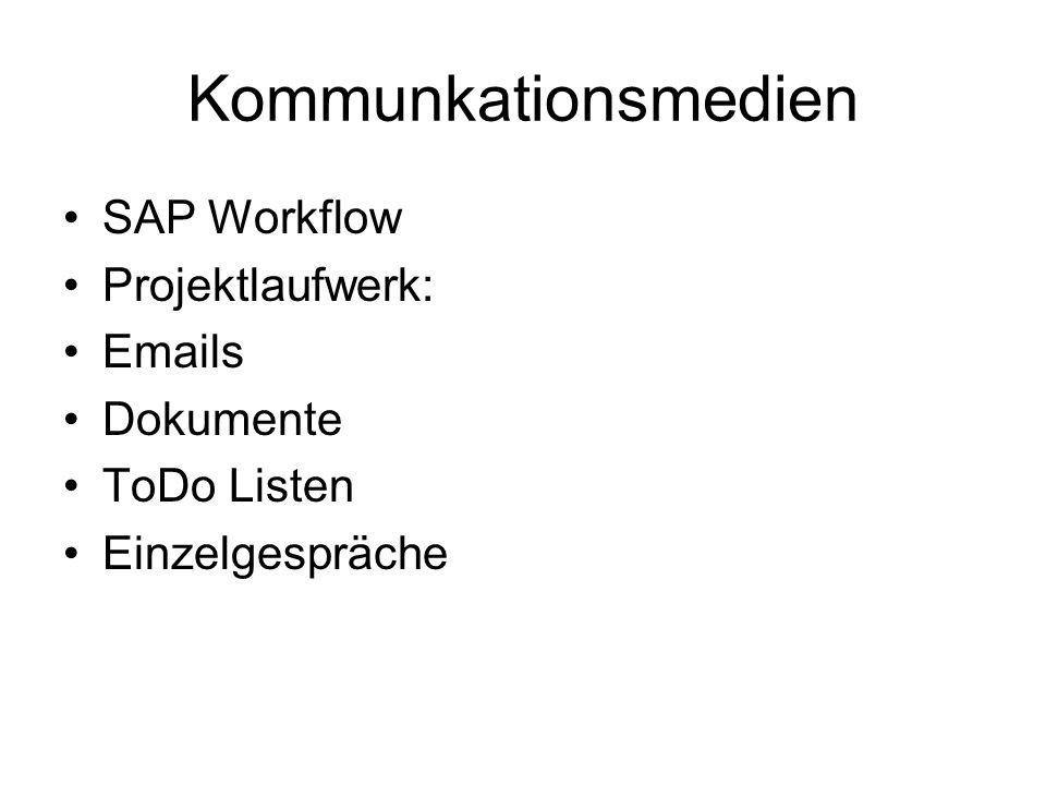 Kommunkationsmedien SAP Workflow Projektlaufwerk: Emails Dokumente ToDo Listen Einzelgespräche