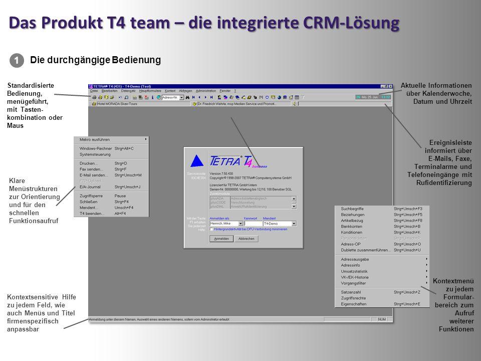 Das Produkt T4 team – die integrierte CRM-Lösung Standardisierte Bedienung, menügeführt, mit Tasten- kombination oder Maus Kontextsensitive Hilfe zu jedem Feld, wie auch Menüs und Titel firmenspezifisch anpassbar Klare Menüstrukturen zur Orientierung und für den schnellen Funktionsaufruf Ereignisleiste informiert über E-Mails, Faxe, Terminalarme und Telefoneingänge mit Rufidentifizierung Aktuelle Informationen über Kalenderwoche, Datum und Uhrzeit Die durchgängige Bedienung 1 Kontextmenü zu jedem Formular- bereich zum Aufruf weiterer Funktionen