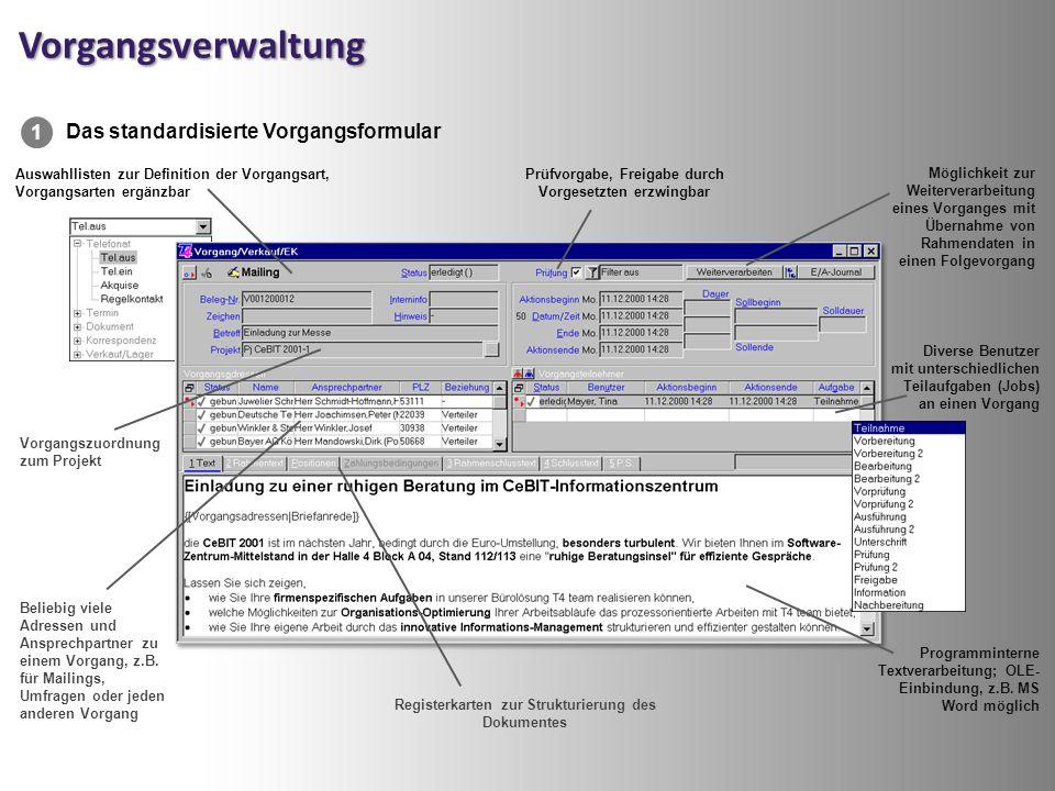 Vorgangsverwaltung Registerkarten zur Strukturierung des Dokumentes Auswahllisten zur Definition der Vorgangsart, Vorgangsarten ergänzbar Beliebig viele Adressen und Ansprechpartner zu einem Vorgang, z.B.