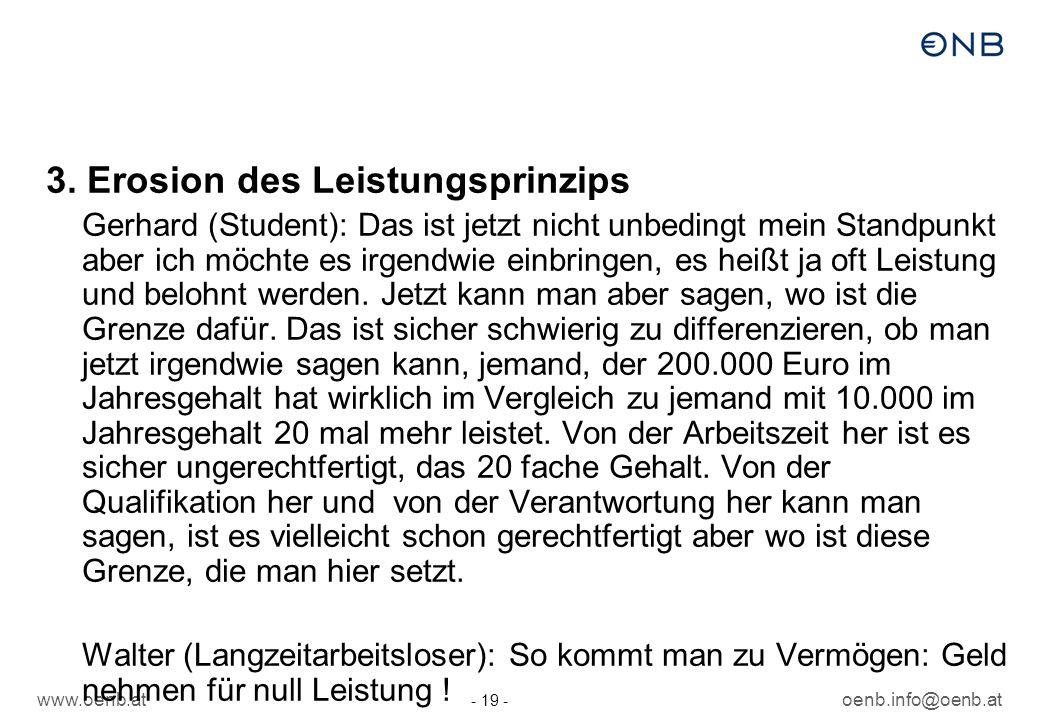 www.oenb.atoenb.info@oenb.at - 19 - 3. Erosion des Leistungsprinzips Gerhard (Student): Das ist jetzt nicht unbedingt mein Standpunkt aber ich möchte