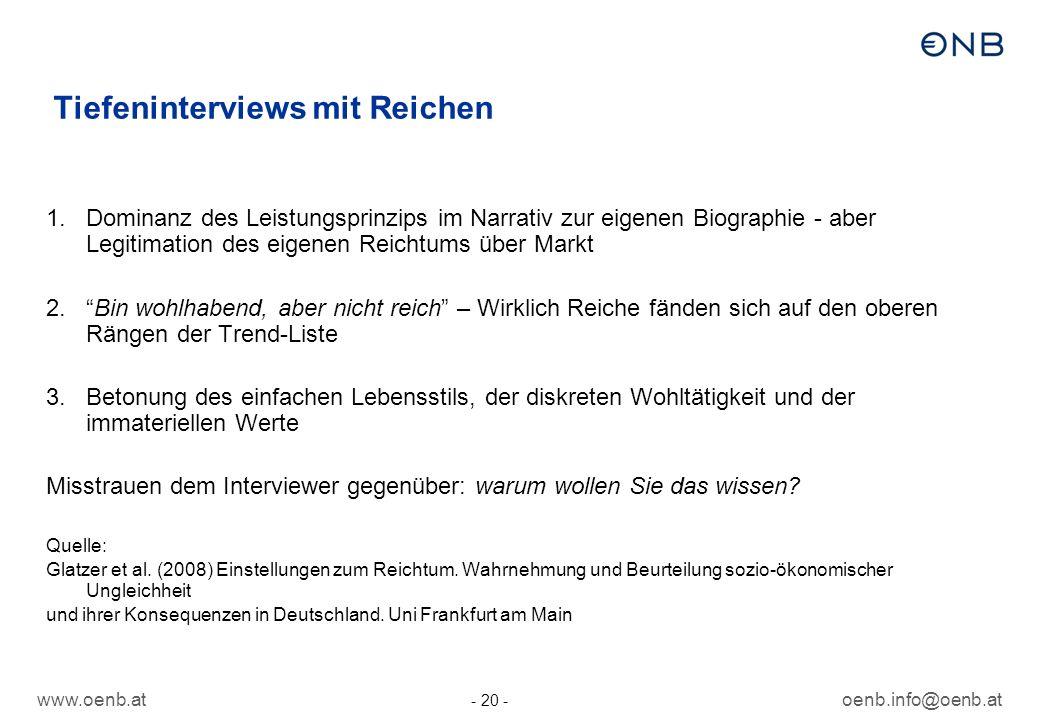 www.oenb.atoenb.info@oenb.at - 20 - Tiefeninterviews mit Reichen 1.Dominanz des Leistungsprinzips im Narrativ zur eigenen Biographie - aber Legitimati