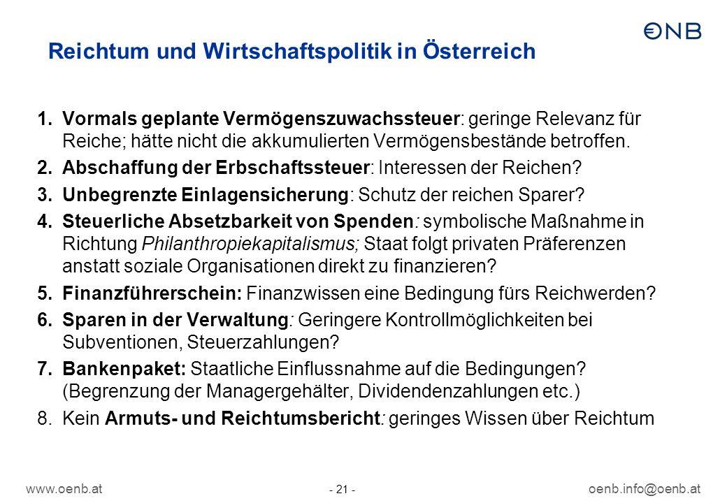 www.oenb.atoenb.info@oenb.at - 21 - Reichtum und Wirtschaftspolitik in Österreich 1.Vormals geplante Vermögenszuwachssteuer: geringe Relevanz für Reic