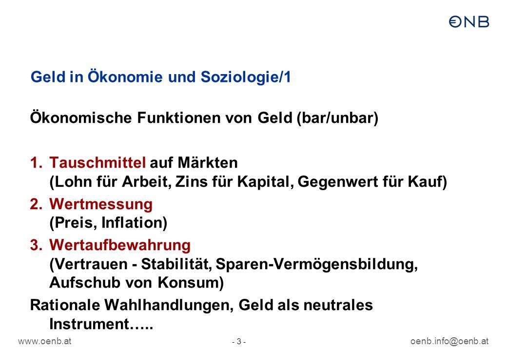 www.oenb.atoenb.info@oenb.at - 4 - Geld in Ökonomie und Soziologie/2 1.Werte/Wertbindung: Wirtschaftlichen Auswirkungen des Geldes untrennbar mit der Frage verknüpft, was es aus den Menschen und ihren sozialen Beziehungen macht.