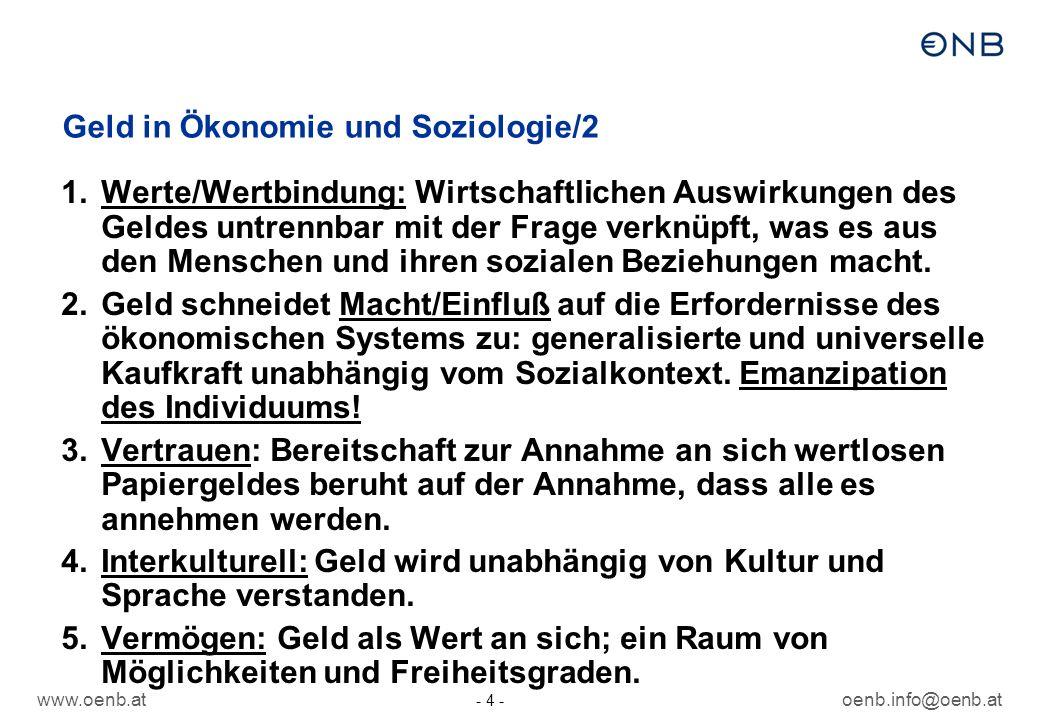 www.oenb.atoenb.info@oenb.at - 4 - Geld in Ökonomie und Soziologie/2 1.Werte/Wertbindung: Wirtschaftlichen Auswirkungen des Geldes untrennbar mit der