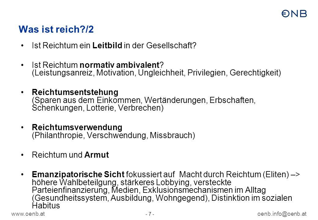www.oenb.atoenb.info@oenb.at - 7 - Was ist reich?/2 Ist Reichtum ein Leitbild in der Gesellschaft? Ist Reichtum normativ ambivalent? (Leistungsanreiz,