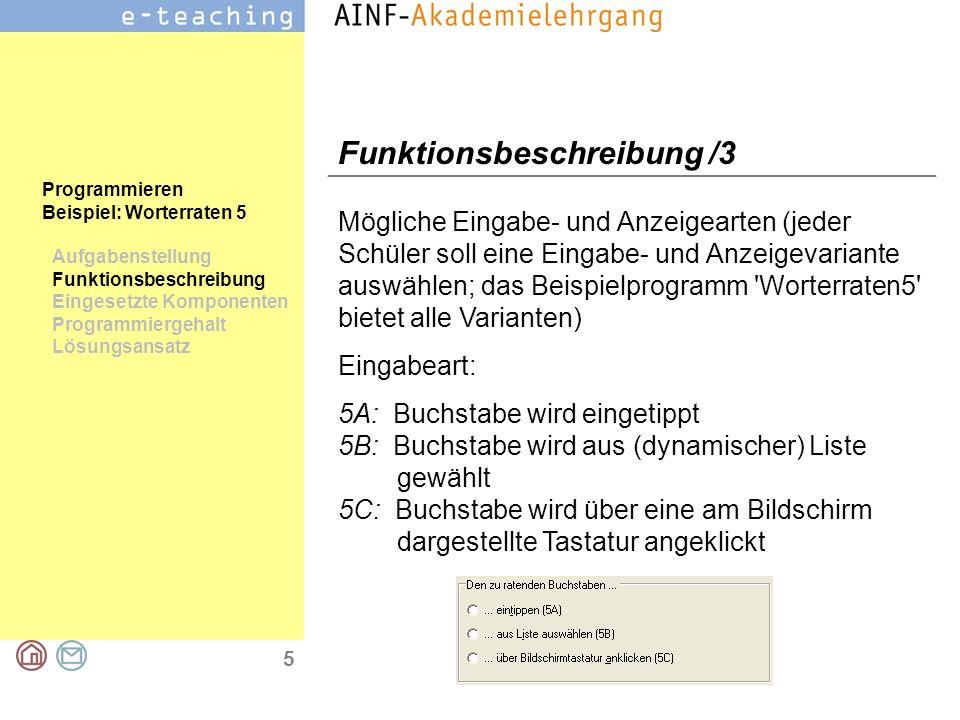 5 Programmieren Beispiel: Worterraten 5 Aufgabenstellung Funktionsbeschreibung Eingesetzte Komponenten Programmiergehalt Lösungsansatz Funktionsbeschr