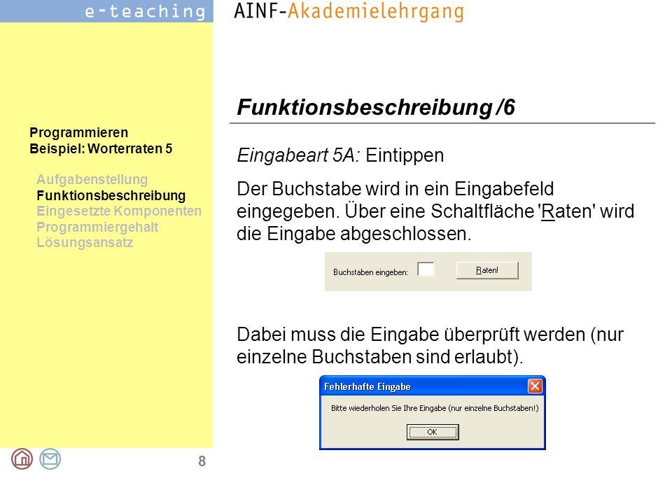 8 Programmieren Beispiel: Worterraten 5 Aufgabenstellung Funktionsbeschreibung Eingesetzte Komponenten Programmiergehalt Lösungsansatz Funktionsbeschr
