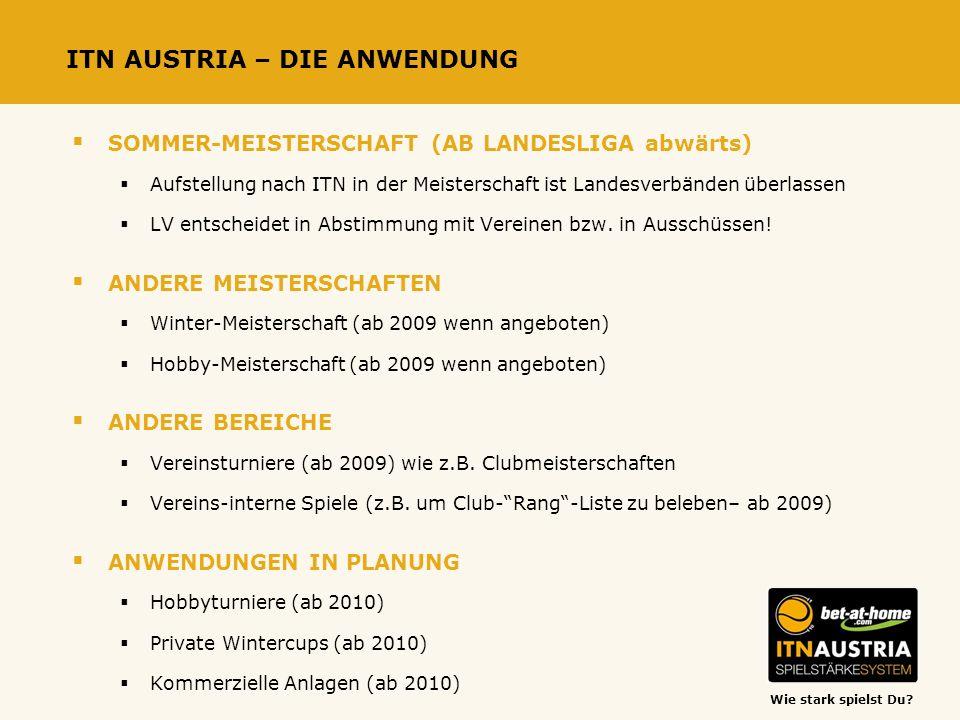 Wie stark spielst Du? ITN AUSTRIA – DIE ANWENDUNG SOMMER-MEISTERSCHAFT (AB LANDESLIGA abwärts) Aufstellung nach ITN in der Meisterschaft ist Landesver