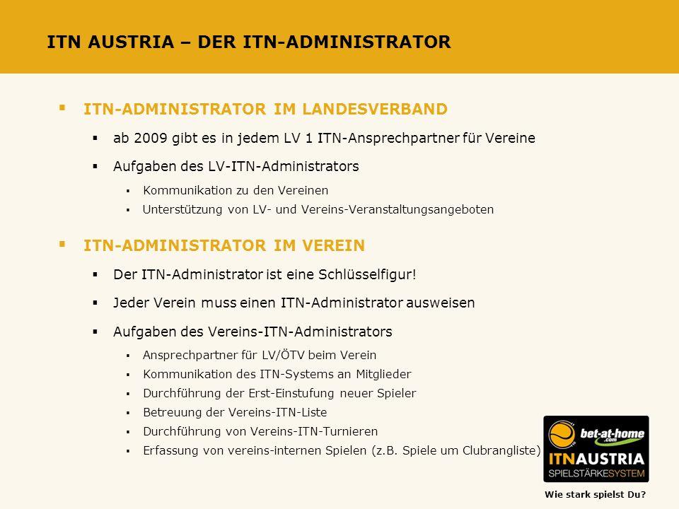 Wie stark spielst Du? ITN AUSTRIA – DER ITN-ADMINISTRATOR ITN-ADMINISTRATOR IM LANDESVERBAND ab 2009 gibt es in jedem LV 1 ITN-Ansprechpartner für Ver