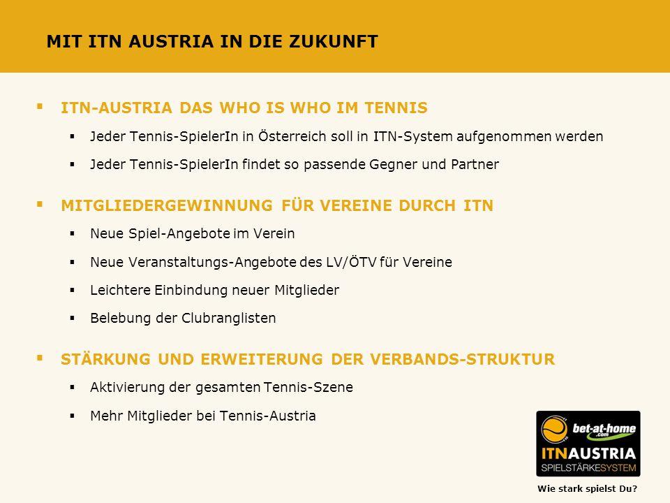Wie stark spielst Du? MIT ITN AUSTRIA IN DIE ZUKUNFT ITN-AUSTRIA DAS WHO IS WHO IM TENNIS Jeder Tennis-SpielerIn in Österreich soll in ITN-System aufg
