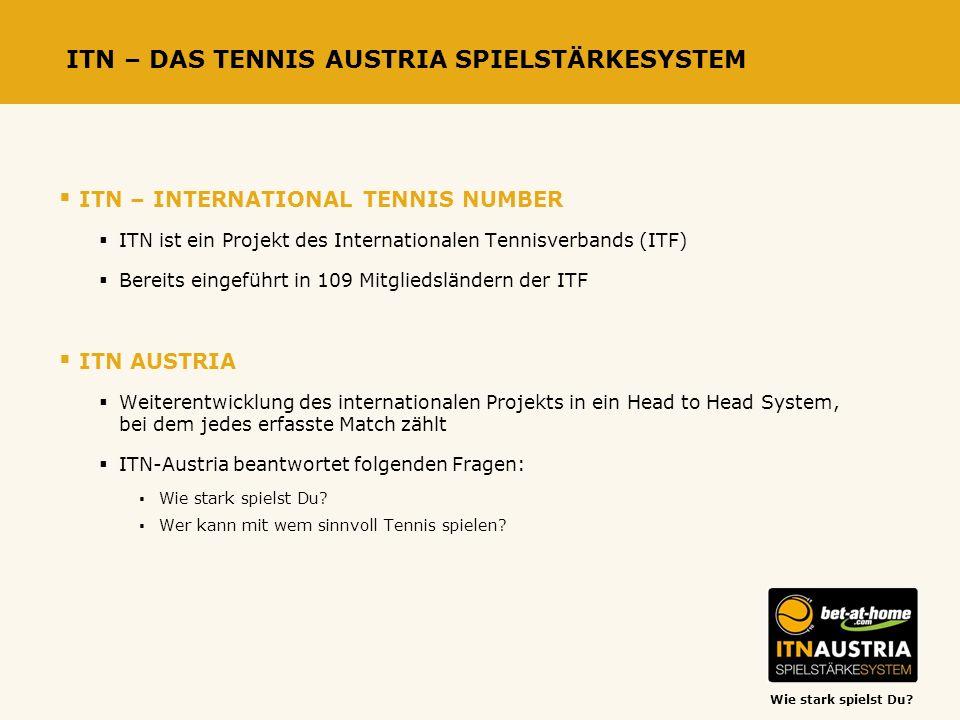 Wie stark spielst Du? ITN – DAS TENNIS AUSTRIA SPIELSTÄRKESYSTEM ITN – INTERNATIONAL TENNIS NUMBER ITN ist ein Projekt des Internationalen Tennisverba